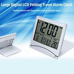 Foldable LCD Digital Desk Travel Alarm Clock W/ Thermometer Date Calendar Timer