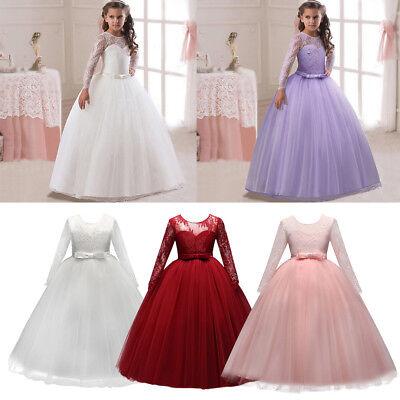Kinder Mädchen Lang Kommunionkleider Blumenmädchen Hochzeit Abendkleid Ballkleid