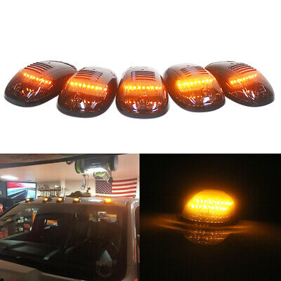 5X Amber LED Cab Roof Marker Lights Assemblies For Dodge GMC Chevy SUV Universal