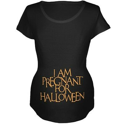 Pregnant for Halloween Black Maternity Soft T-Shirt