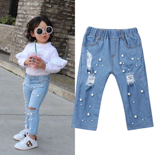 For Kid Baby Girl Summer Casual Shredded Hole Jeans Denim Pa