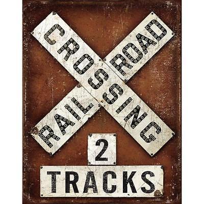 RAILROAD CROSSING VINTAGE WALL ART METAL TIN SIGN HOME DECOR FOR PUB BAR GARAGE