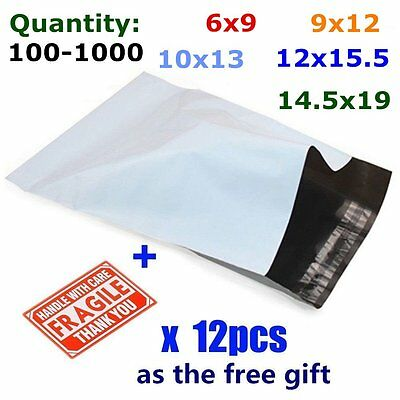 100-1000 Poly Mailers Mailing Self Sealing Envelopes Plastic Bags Free Shipping 100 Self Sealing Bags