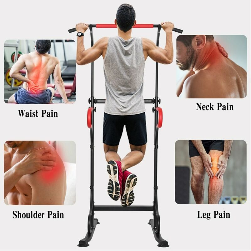 Adjustable Dip Station Chin Pull Up Bar Power Tower Home Gym Fitness Trainer