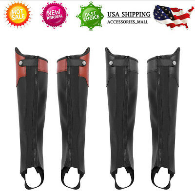 HORSE RIDING ADULTS HALF CHAPS BLACK WITH FULL GRAIN PU LEATHER-ALL SIZES -