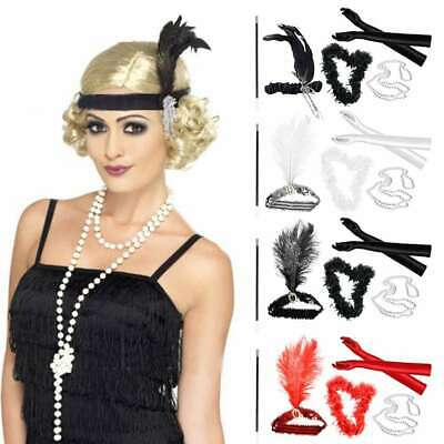 1920 Womens Gangster Costume (1920's Charleston Gatsby Flapper Gangster Fancy Dress Costume Accessories Lot)