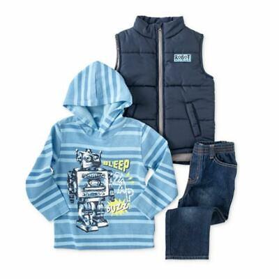 Kids Headquarters Infant Boys 3 Piece Robot Outfit Jeans Shirt & Vest Jacket