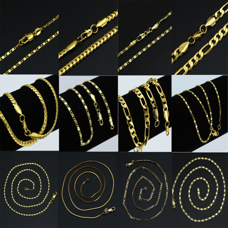 18K IP Gold Plated Solid FIGARO CHAIN 316L Stainless Steel Men/'s Link Necklace