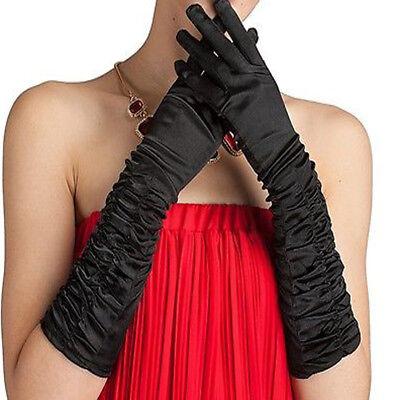 Long Sleeve Black Gloves (Black Womens Sexy Bridal Wedding Costume Party Gloves Satin Long Sleeve)
