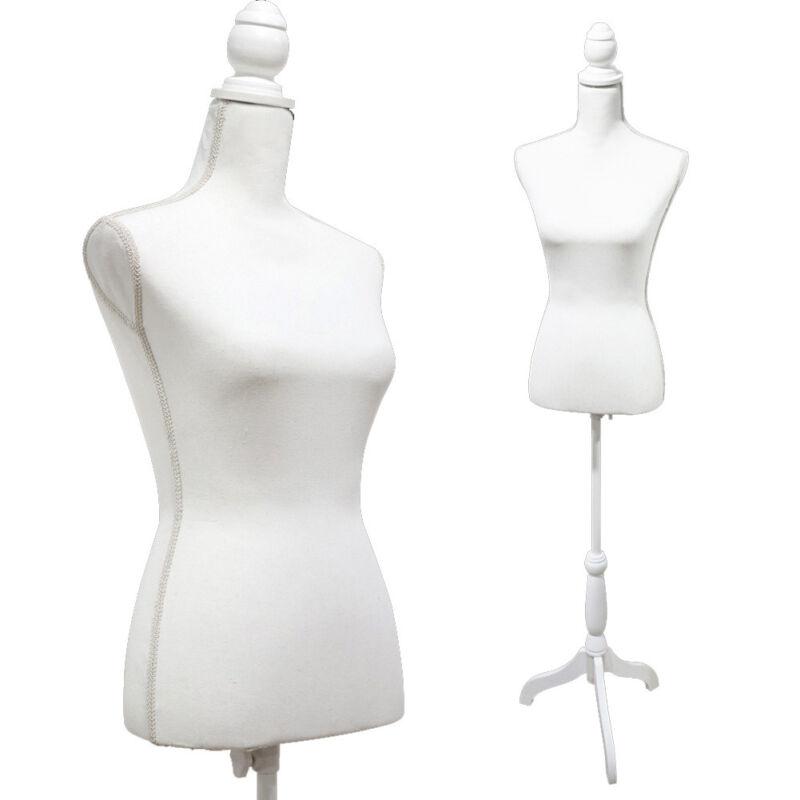White Female Mannequin Torso Dress Form Tripod Stand Display