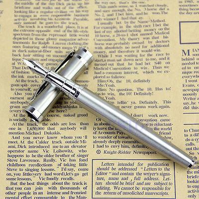 BAOER 3035 Stainless Steel Metal Silver Medium Nib Fountain Pen