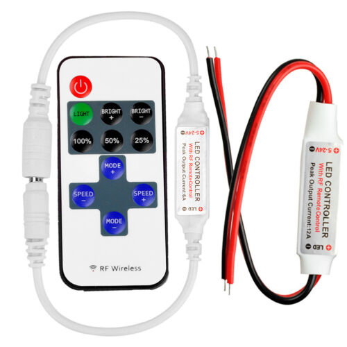 Details about Mini Wireless RF Remote Controller Dimmer Control For Single  Color LED Strip 12V