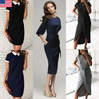 2019 New Women's Black Office Wrap Dress Ladies Day Evening Casual Party Dress (Office Parties)
