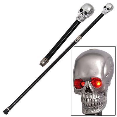 Dark Resurrection Skull Head  Cane Walking Stick with Lighting Eyes