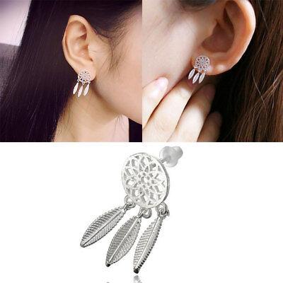 Women Bohemia Dream Catcher Feather Charm Drop Earrings Jewelry Vintage Crystal - Dreamcatcher Earrings
