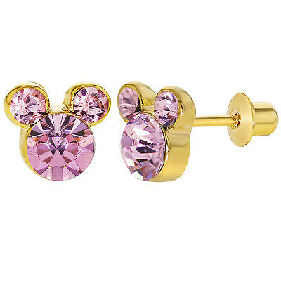 18k Gold Plated Pink Crystal Mouse Children