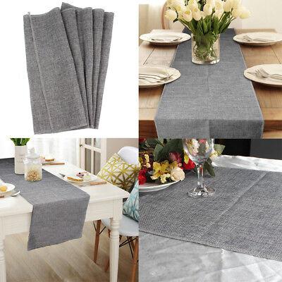 Retro Gray Linen Burlap Natural Jute Table Runner for Wedding Party Table - Decor For Wedding