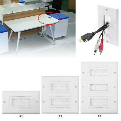 1/2/3 Gang Brush Wall Plate Bristles Port Insert Cover Cable Outlet Mount Panel Gang Wall Plate 3 Port