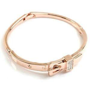 rose Gold GP  clear swarovski Crystal buckle bangle Bracelet id689