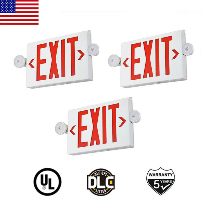 3Pack LED Exit Sign Emergency Light Red Fire–Hi Output Compact Combo UL listed
