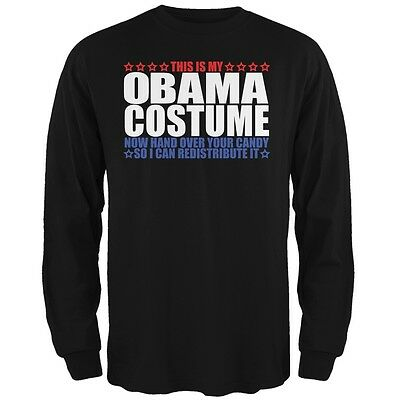 Costume Black Adult T-shirt - Halloween Funny Obama Costume Black Adult Long Sleeve T-Shirt