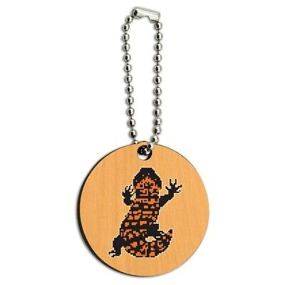 Gila Monster Pixel Lizard Wood Wooden Round Keychain Key Chain Ring for sale  Shipping to Canada