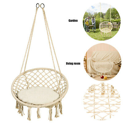 Cotton Rope Hammock Morocco Round Macrame Net Hanging Relax Chair Swing 150kg US ()