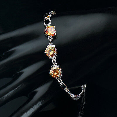 White Gold Plated Amber Created Citrine Tennis Bracelet Bridal Silver Tone