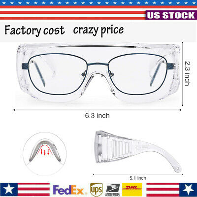 Safety Goggles Over Glasses Lab Work Eye Protective Eyewear Clean Lens Us Seller