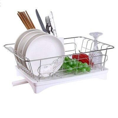 Stainless Steel Dish Drying Rack Drainer In Sink Compact Space Saver with (Stainless Steel Dish Rack With Drainer Tray)