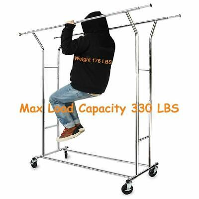 Double Heavy Duty Rail Clothing Garment Rack Portable Rolling Clothes Dry Hanger