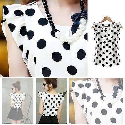 Women/'s Casual Chiffon Blouse Short Sleeve Polka Dot Shirt T-shirt Summer Tops