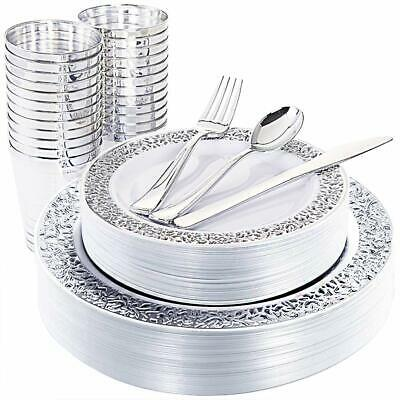 Silver Plastic Cups (25Guest Silver Plastic Plates with Disposable Plastic Silverware&Silver Rim)