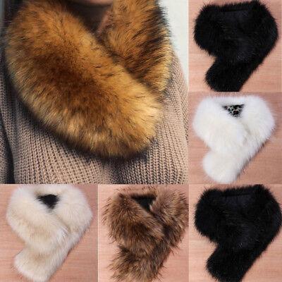 Fur Neck Wrap - Faux Fox Fur Collar Scarf Fluffy Winter Warm Shawl Wrap Neck Stole Scarfs Chic