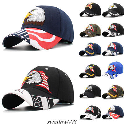Vintage American Eagle Hat USA Flag Men Women Distressed Baseball Patriotic -