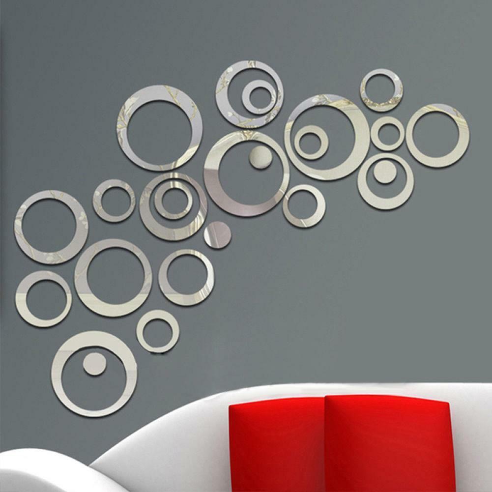 24pcs 3D Circles Mirror Wall Silver Sticker DIY Decal Vinyl