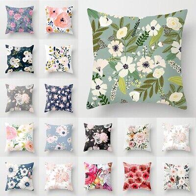 "18"" Polyester Floral Pillow Case Cover Sofa Throw Waist Cush"