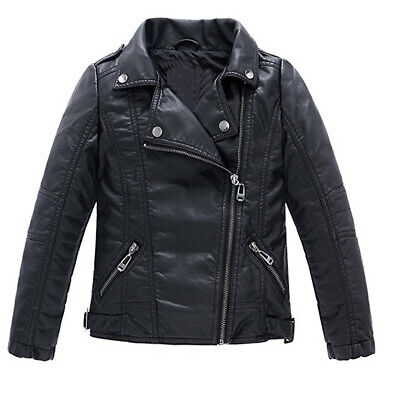 Children's Motorcycle Leather Jacket, Faux Leather Coat for -