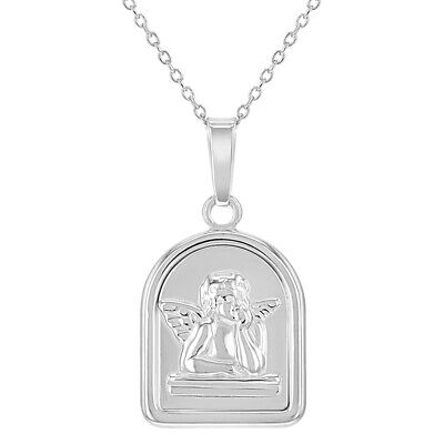 925 Sterling Silver Protection Medal Guardian Angel Pendant for Children 16