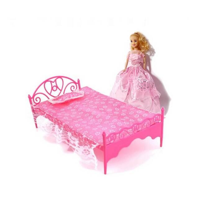 Kids Gift Miniature Bedroom Furniture Bed Set For Barbie Doll Dollhouse Toy Uk