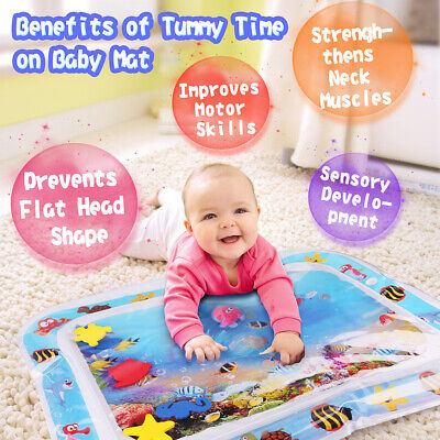 Best Tummy Time Water Play Mat for Kids Baby infant Large 26x20'' w/6 sea