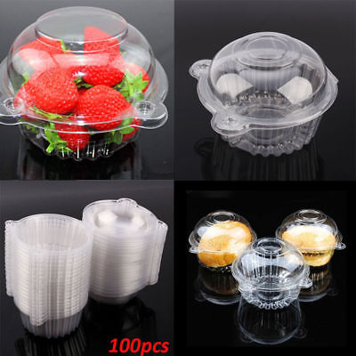 100pcs Clear Plastic Cupcake Cake Dome Holder Box Container for Wedding Party
