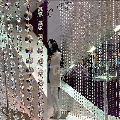 100pcs Clear Glass 14MM Octagonal Beads Decoration Chandelier Parts