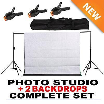 10Ft Photography Black /White Screen Studio Muslin Photo Kit Background Stand VP