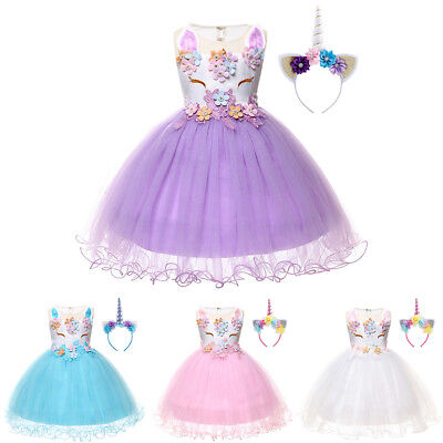 Unicorn Floral Gown Birthday Party Christmas Flower Girl Dress for Baby Toddler
