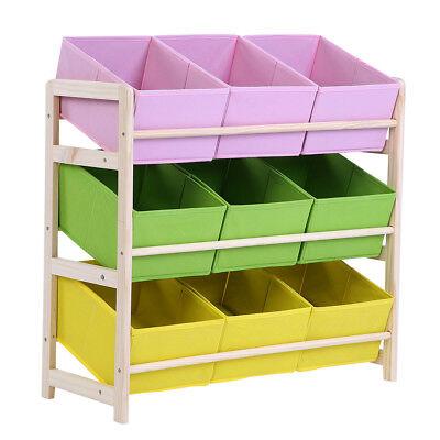 Large Kids Toy Storage Box 9 Bin & Wood Shelf Bedroom Playroom Organizer Case