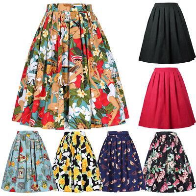 GK Ladies Swing A Line Pleated Elastic Waist Cocktail Casual Vintage Midi Skirt