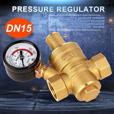 Dn15 Water Pressure Regulator Brass Adjustable Reducergauge Meter