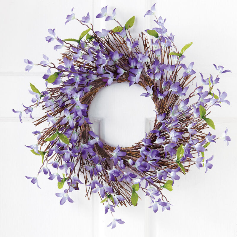 Collections Etc Spring Floral Forsythia Twig Wreath LAVENDER