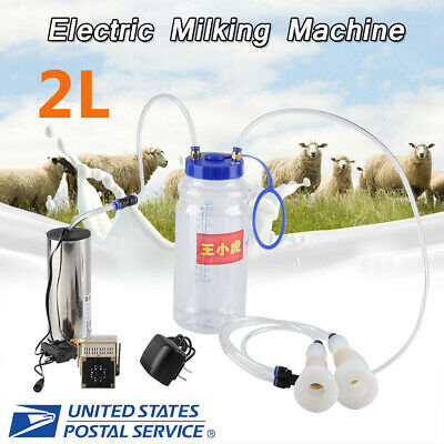 2l Portable Electric Milking Machine Vacuum Pump For Farm Cow Sheep Goat New Us